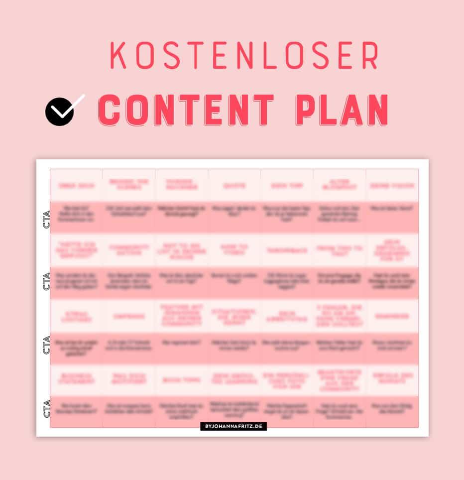28 Themen Ideen fuer Social Media - Content Plan - By Johanna Fritz